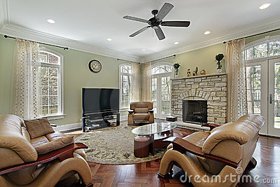 Family room with stone fireplace