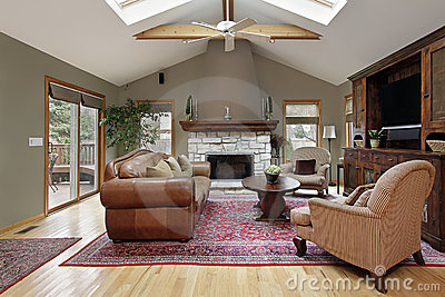 Family room with white brick fireplace