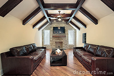 Family room with wood ceiling beams