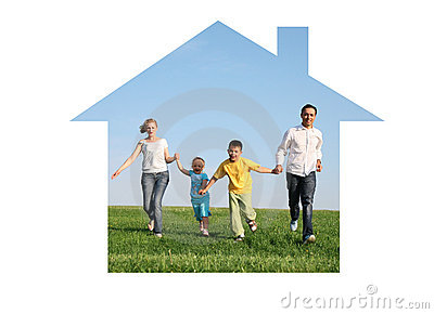 Family running in dream house