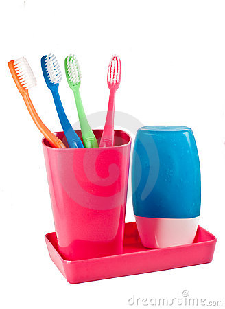 Family s tooth brushes and tooth paste