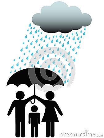 Free Family Safe Under Umbrella Cloud & Rain Royalty Free Stock Photos - 8483628