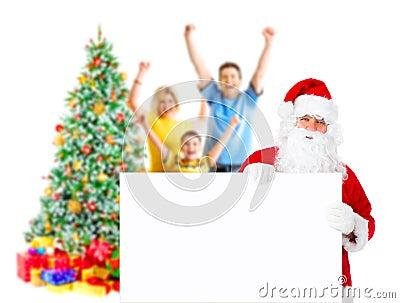 Family, Santa and Christmas Tree
