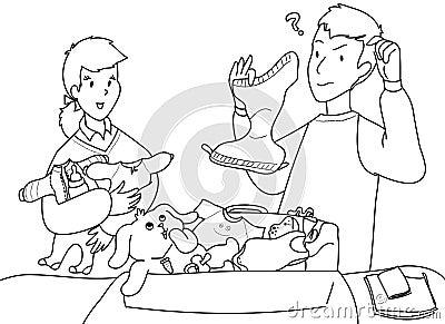 A family scene bw