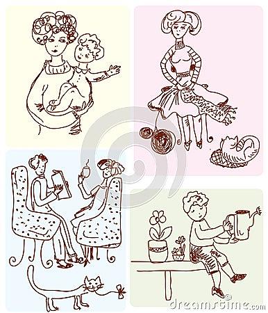 Family scenes cartoon