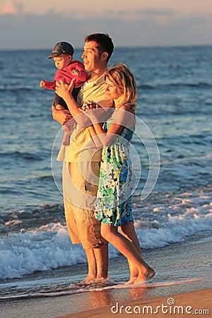 Family on the sea shore