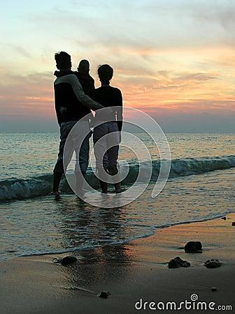Free Family. Sea. Sunrise. Stock Image - 459621