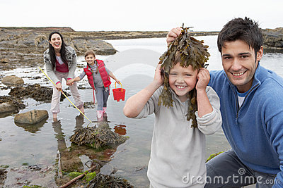 Family with seaweed