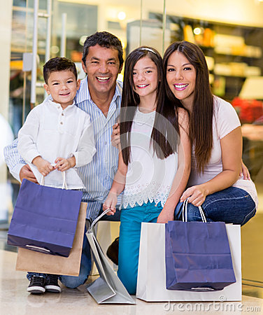 Family at the shopping center
