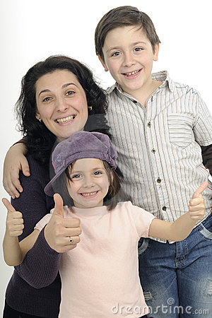 Family showing ok sign