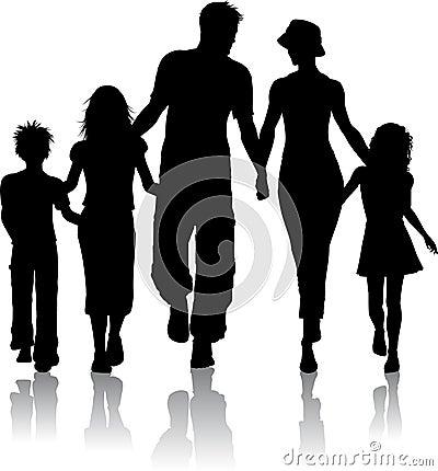 Free Family Silhouette Royalty Free Stock Photos - 12898358