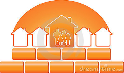Family silhouette and construction sign