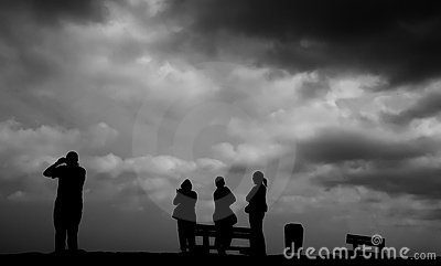 Family silhouette  dark times