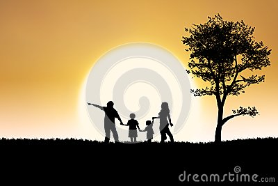 Family silhouette of on sunset and tree background