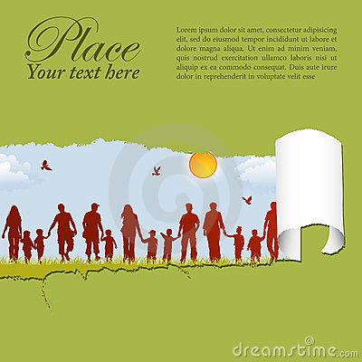 Free Family Silhouettes Through A Hole In A Paper Royalty Free Stock Images - 19746109