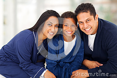 Family sitting bed