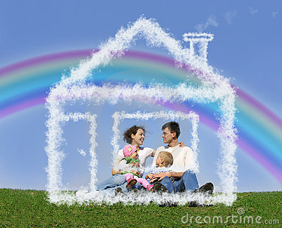 Family sitting in dream house and rainbow collage