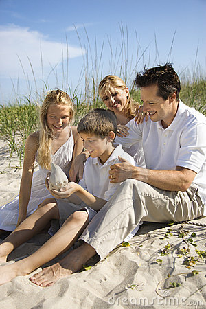 Free Family Sitting On Beach. Royalty Free Stock Images - 2046069