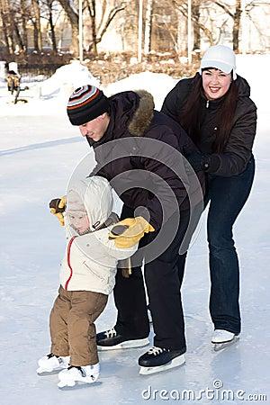 Free Family Skating At The Rink Royalty Free Stock Photo - 4006515