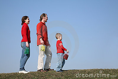 Family with small bags