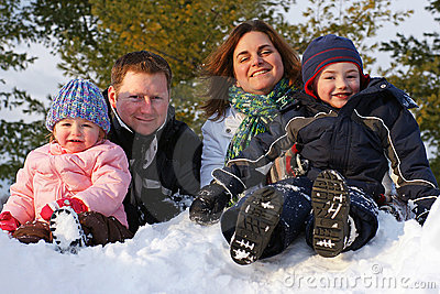 Family on a Snow Bank