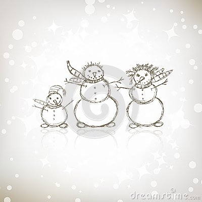 Family of snowmen, christmas sketch