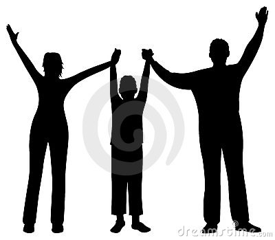 Family with son hands up