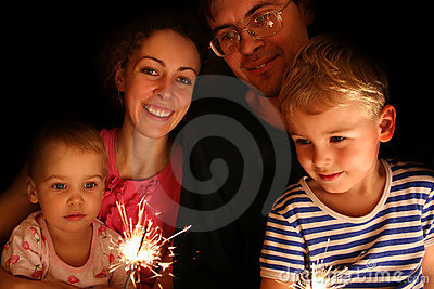 Family with sparkler