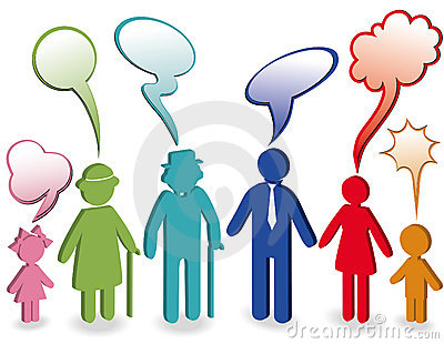 Family with speech bubbles