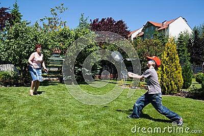 Family sport - playing badminton