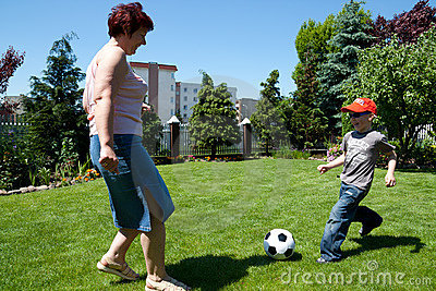 Family sport - playing soccer (football)