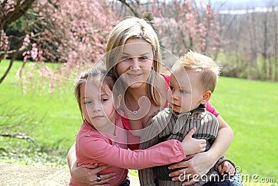 Family in spring park
