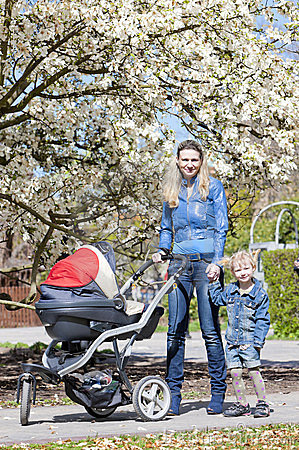 Family on spring walk