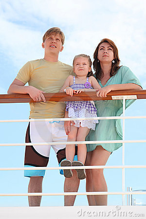 Free Family Standing On Cruise Liner Deck Near Rail Royalty Free Stock Image - 16332206
