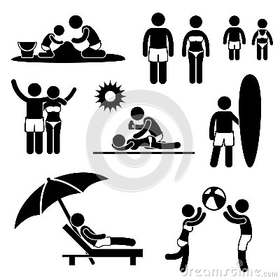 Family Summer Beach Holiday Vacation Pictogram