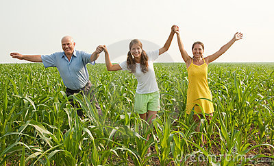 Family on summer countryside. freedom concept