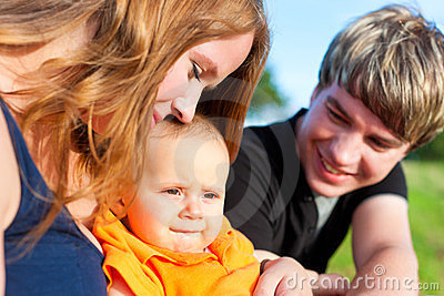Family in summer - Mother, father and child