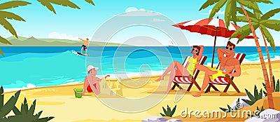 Family summer vacation flat vector illustration Vector Illustration