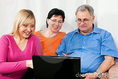 Family surfing the internet