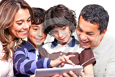 Family with a tablet computer
