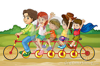 Family on tandem bike