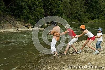 Family team fishing