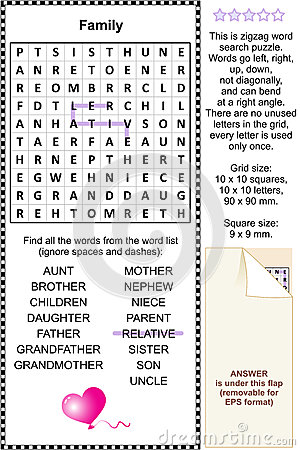 Family themed wordsearch puzzle