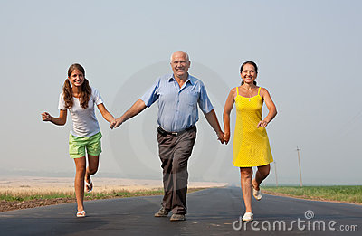 Family of Three on road