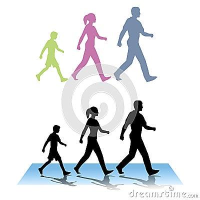 Family of Three Walking