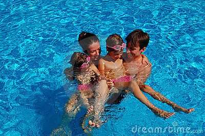 Family time in pool