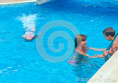 Family to swim in the pool.