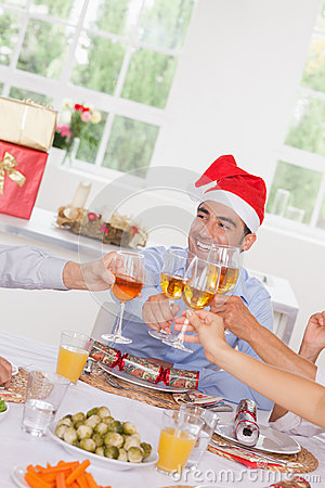 Family toasting at Christmas