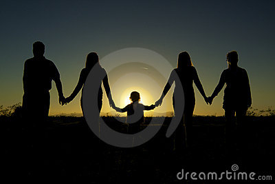 Family Togetherness and unity in Sunset