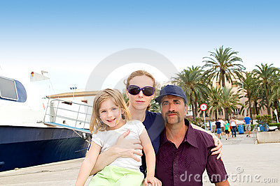 Family tourist in Ibiza town port